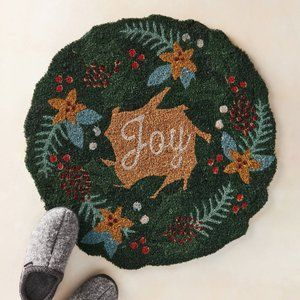 HTF Anthropologie Joy Wreath Doormat